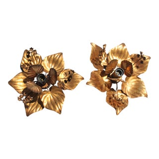 Willy Rizzo Mid-Century Modern Floral Sconces - A Pair