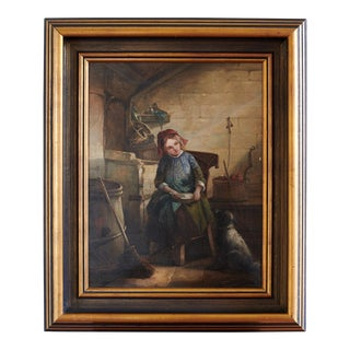 "17th Century ""Girl With Dog"" Oil Painting For Sale"