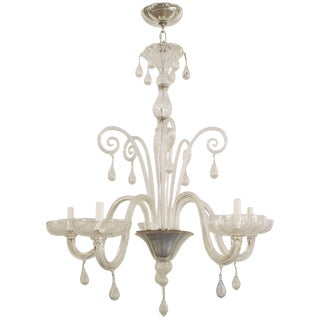 Venini Italian Glass Chandelier With Six Upright Scrolls and Six Scroll Form Arms For Sale
