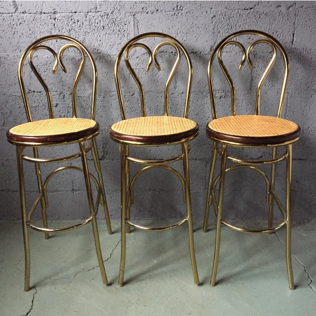 Gold Chrome Bar Stools In The Style of Michael Thonet- Set of 3 - Image 2 of 11