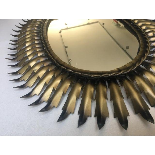 Brutalist Spanish Gilt Metal Oval Sunburst Mirror For Sale - Image 3 of 3