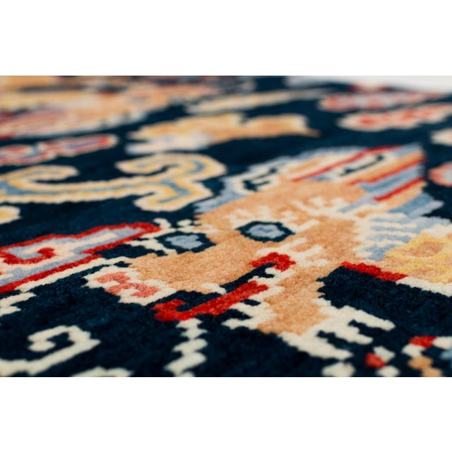 This rug is woven in a special weaving project in a women's coop using special lost weaving techniques. We use secret...