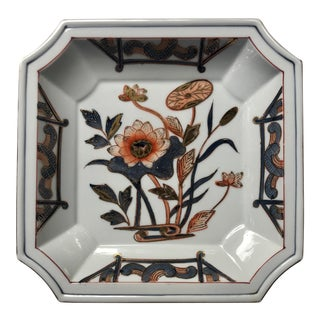 Chinoiserie Gilt Floral Lotus Porcelain Catchall Dish For Sale