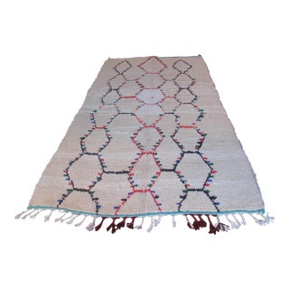 1960s Moroccan Beni Ourain Rug With Red, Blue, and Green Diamond Motif For Sale