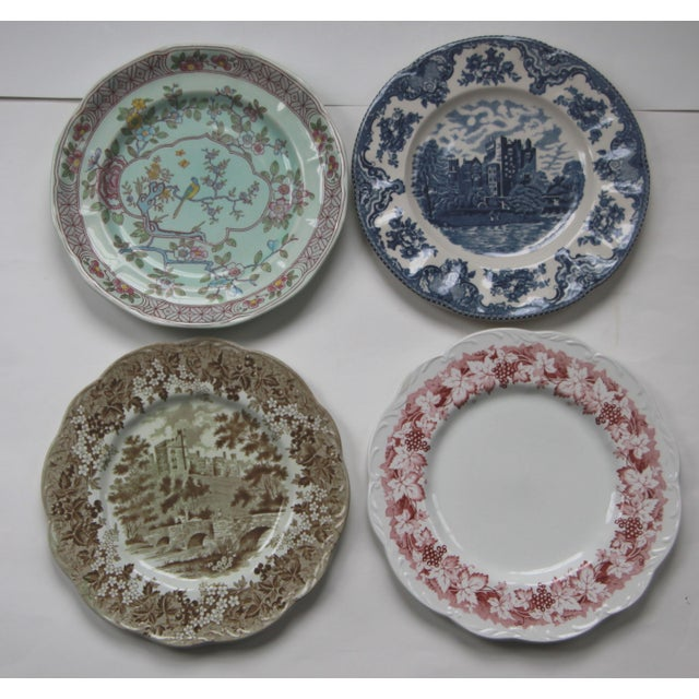 Mismatched Transfer Ware Ironstone Dinner Plates - Set of 8 - Image 2 of 4