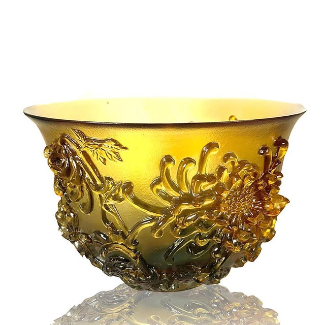 """LIULI Crystal Art Crystal Limited Edition Chrysanthemum Bowl """"The Chrysanthemum Gentleman"""" in Amber & Clear Golden Red For Sale - Image 4 of 4"""