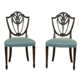Image of Pair Finely Carved Vintage Mahogany Shield Back Chairs For Sale