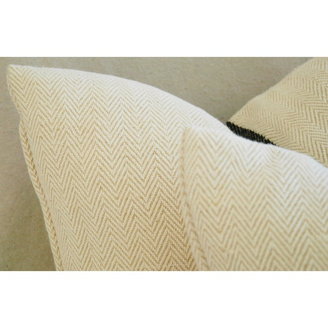 French Grain Sack Down & Feather Pillows - Pair - Image 8 of 10