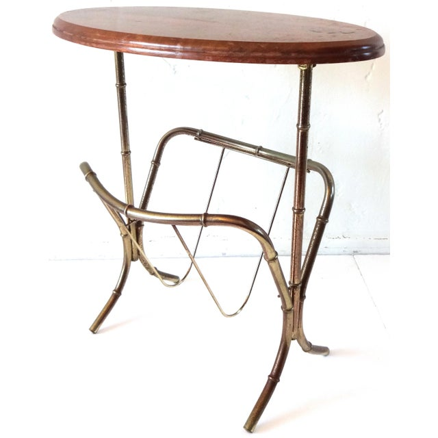 Vintage Mid-Century Modern Brass Faux Bamboo Side Table & Magazine Rack For Sale - Image 10 of 10