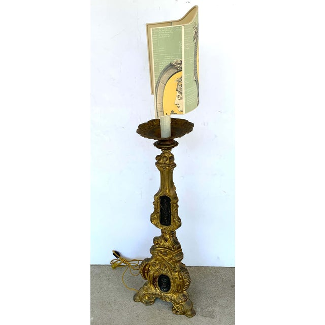 Metal 19th Century Italian Bronze Altar Candlestick, Custom Shade, Now Electrified For Sale - Image 7 of 13