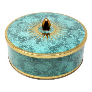 Vintage Turquoise and Gold Lidded Metal Box For Sale