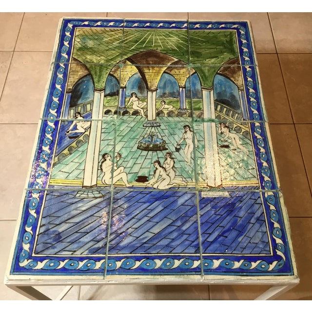 2000 - 2009 Vintage Persian Tile Top Coffee Table For Sale - Image 5 of 13