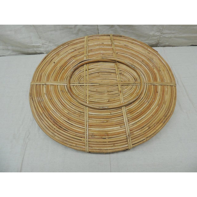 Vintage Bent Oval Rattan Serving Tray With Antique Brass Finished Handles For Sale In Miami - Image 6 of 7