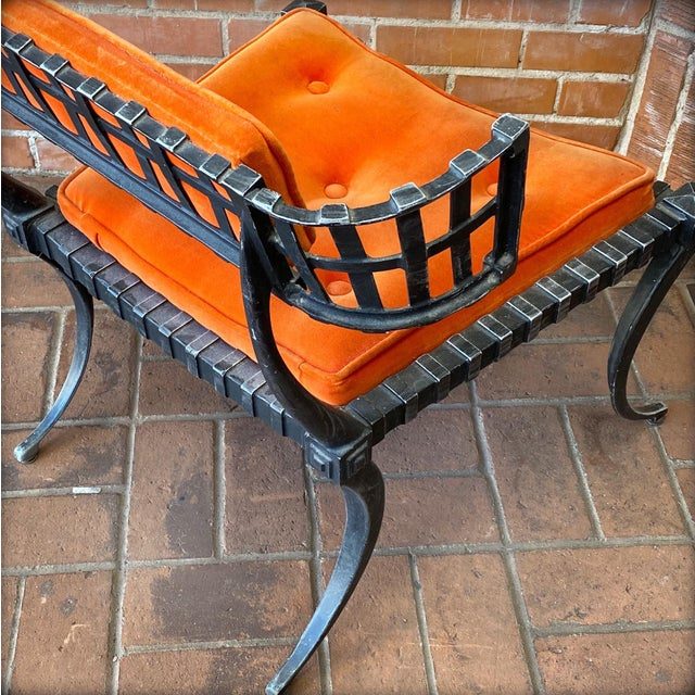 Metal 1960s Vintage Klismos-Style Thinline Lounge Chair and Ottoman with Original Finish & Orange Upholstery For Sale - Image 7 of 13