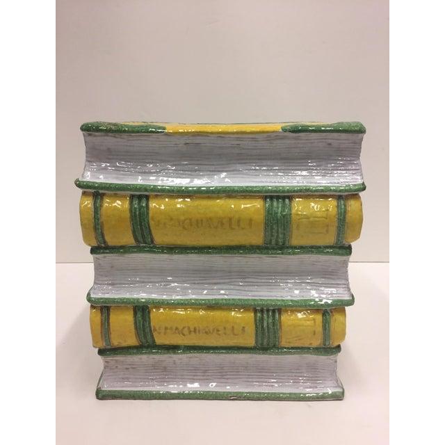 Tromp l'Oeil Stack of Books Glazed Terracotta Italian Side Table Garden Seat For Sale - Image 9 of 10