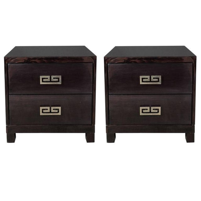 Pair of Mid-Century Greek-Key Nightstands or End Tables with Greek Key Pulls For Sale - Image 9 of 9