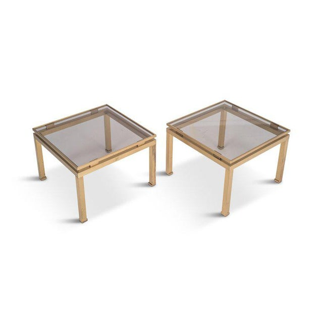 Guy Lefevre Side Tables in Brass and Smoked Glass for Maison Jansen For Sale - Image 9 of 10