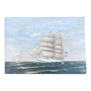 Vintage Seascape Clipper Ship Oil Painting Signed