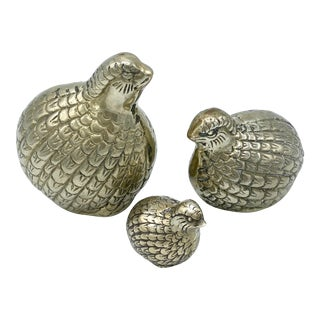 Mid-Century Brass Quail- Set of 3 For Sale