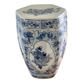 Vintage Blue and White Porcelain Garden Stool For Sale