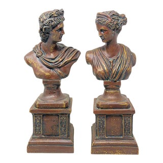 Vintage 90s Greek Male & Female Busts - a Pair For Sale