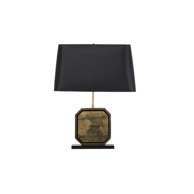 Hollywood Regency Table Lamp in 24-Karat Gold and Brass Etched Artwork by Maho For Sale