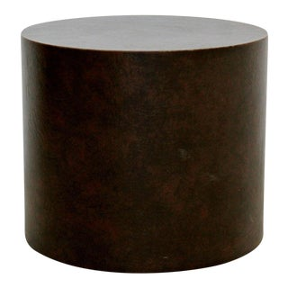 Mid Century Modern Brown Leather Wrapped Circular Pedestal Display Stand For Sale