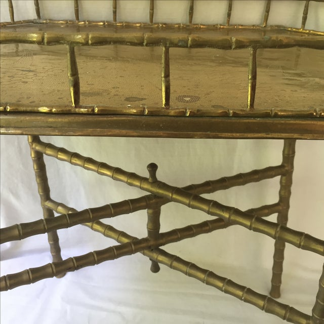 Vintage Brass Bamboo Tray Table - Image 6 of 6
