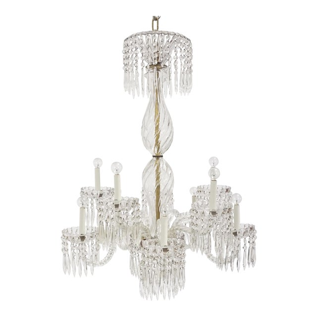 Antique Baccarat Undulating 10-Armed Crystal Waterfalls Chandelier For Sale