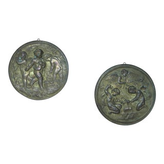 19th Century Angels at Work Brass Repousse Decorative Rounds - a Pair