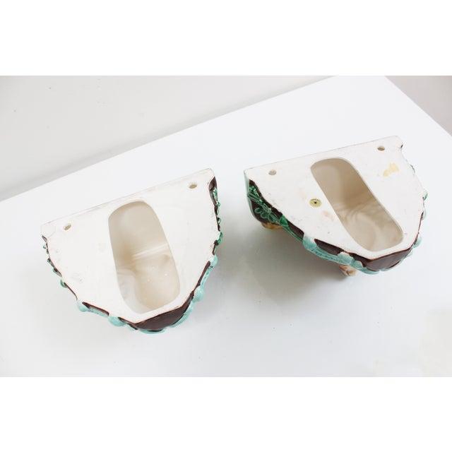 Vintage Takahashi Porcelain Corbel Shelves- Pair of Black Forest Ceramic Deer For Sale - Image 4 of 8