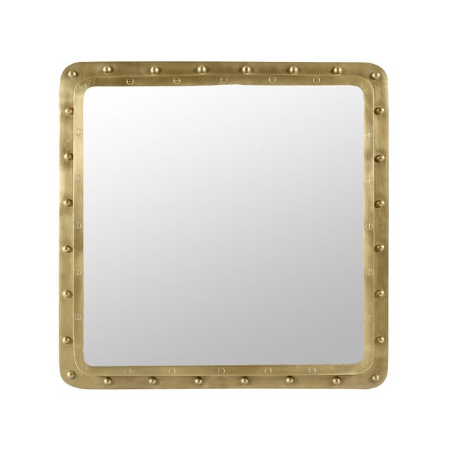 Contemporary Industrial Brass Rivet Square Mirror For Sale - Image 3 of 3