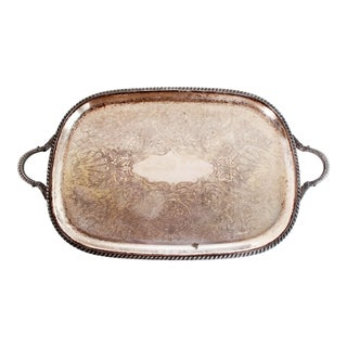 Antique C.1920s Sheffield Silverplate Serving Tray With Shell Motif For Sale