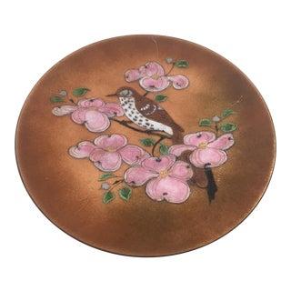 Vintage Artisan Modernist Handcrafted Brass Enamel Magnolia Blossom Bird Plate