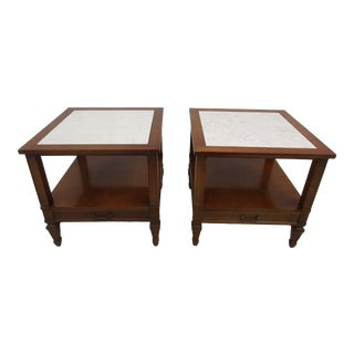 Mid-Century Modern Hammary Side Tables With Portuguese Marble Tops - a Pair For Sale