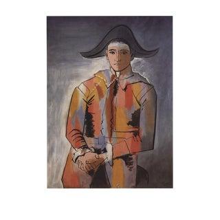 "Pablo Picasso Arlequin Les Mainscroisees (No Text) 35.5"" X 27.5"" Poster Cubism Orange, Red, Gray For Sale"