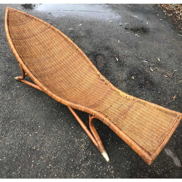 Wicker 1930s Lina Zervudachi for Elsa Schiaparelli Rattan Bamboo and Brass Wicker Fish Chaise Lounge Chair For Sale - Image 7 of 13