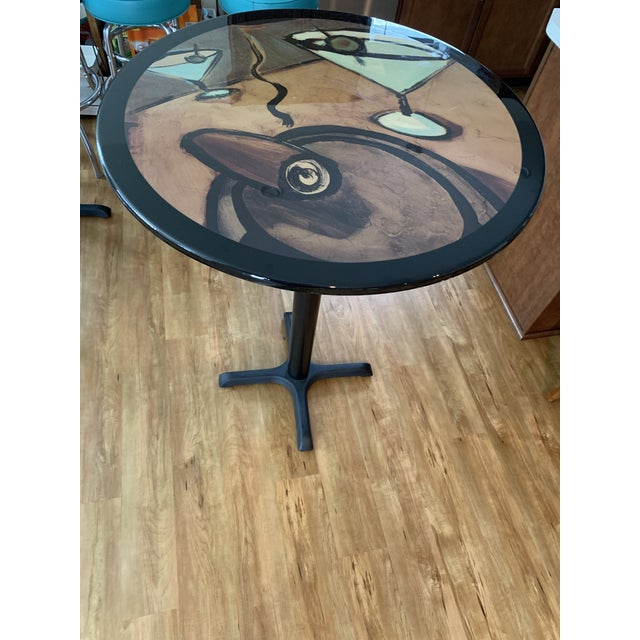 Mid-Century Modern Vintage Mid Century Modern Painted Metal Pedestal Cafe Table For Sale - Image 3 of 9