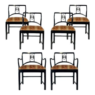 6 Black Lacquered Michael Taylor for Baker Dining Chairs W. Interlocking Circle For Sale
