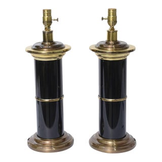 1960's Modern Empire Style Brass and Black Lacquer Columnar Table Lamps - A Pair