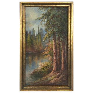 "1927 ""California Redwoods on the Riverbank"" Landscape Painting For Sale"