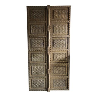 19th Century Moroccan Intricate Brass Detailed Doors - a Pair For Sale