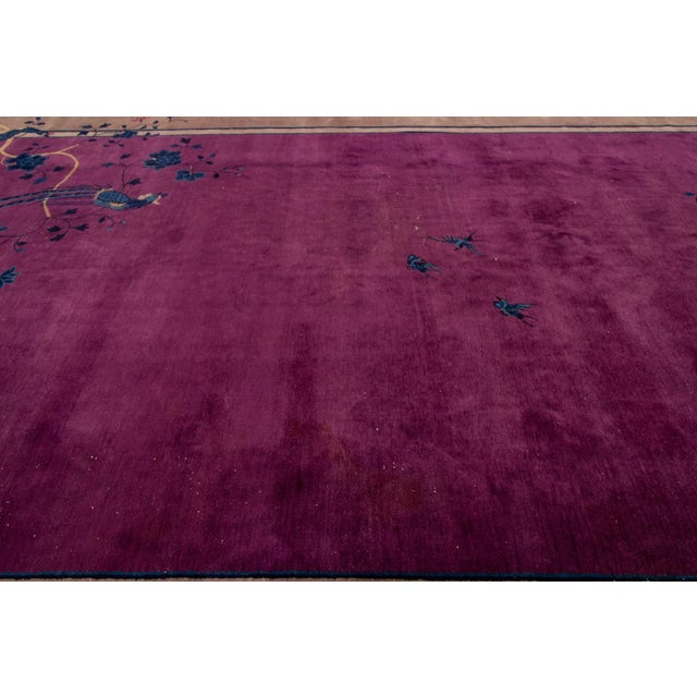 1920s Antique Purple Chinese Mandarin Wool Rug 9 Ft 9 in X 16 Ft 3 In. For Sale - Image 5 of 11