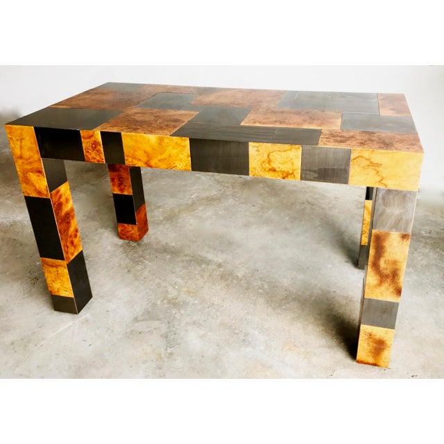 "Brown Paul Evans Signed Original ""Cityscape"" Desk in Burl Walnut & Chrome For Sale - Image 8 of 11"