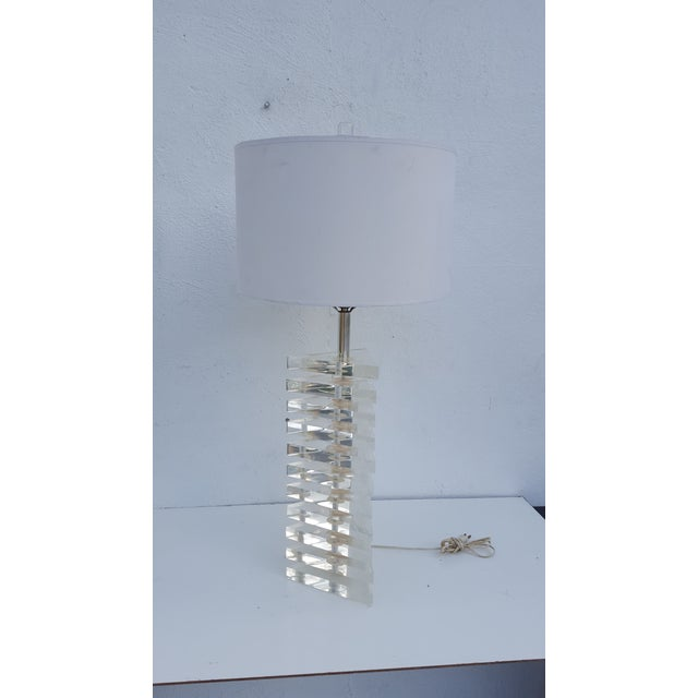 Vintage original George Bullio marked sculptural triangular stacked Lucite Table lamp. Each Lucite Piece is an inch thick...