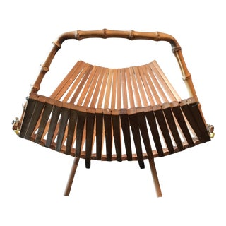 Mid Century Modern Folding Bamboo Basket For Sale