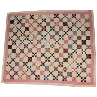 19th Century Antique Quilt, Postage Stamp Nine Patch Chain For Sale