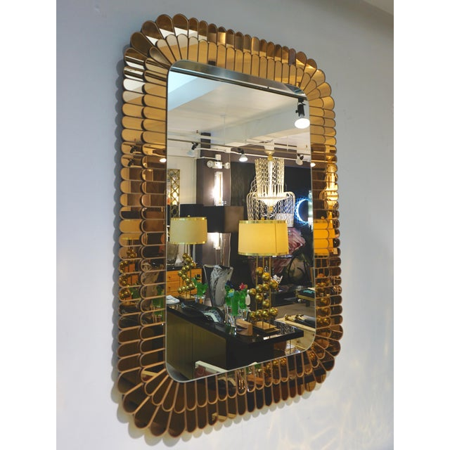 Contemporary Italian Scalloped Double Frame Silvered Bronze Murano Glass Mirror For Sale - Image 11 of 11