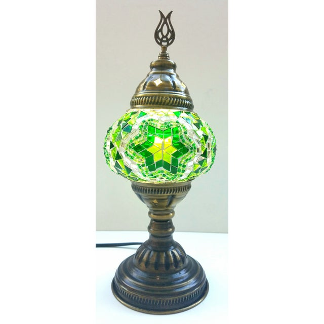 Handmade Green Mosaic Table Lamp - Image 2 of 4