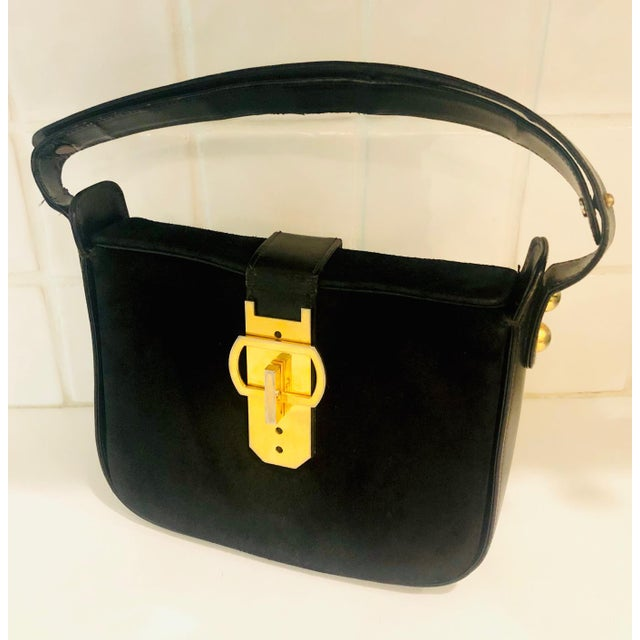 1980s Saks Fifth Avenue Suede and Leather Shoulder Bag For Sale - Image 4 of 13